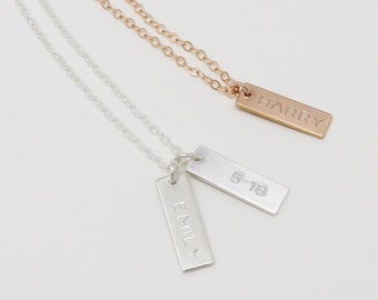 Mini Vertical Bar Tag Necklace, personalised, engraved name bar necklace, date necklace