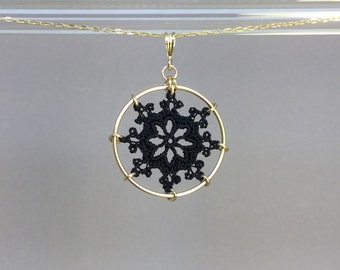 Nautical doily necklace, black silk thread, 14K gold-filled