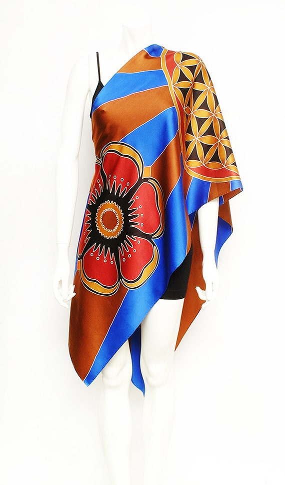 Flower of life sacred geometry mandala hand painted silk scarves