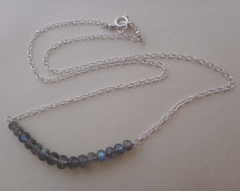 Gray gemstone necklace gray and silver necklace labradorite silver necklace labradorite bar necklace labradorite row necklace handmade