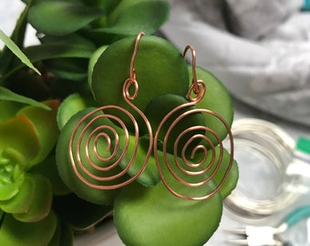 Copper Spiral Wire Earrings