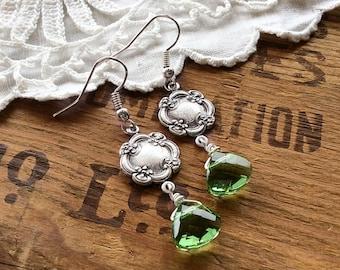 Bright green drop earrings - silver cloud earrings Victorian earrings sterling silver earrings