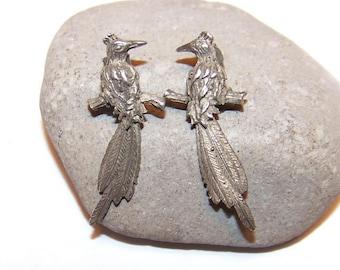 Vintage 925 sterling silver bird earrings, stud bird earrings, drop earrings, Bird earrings