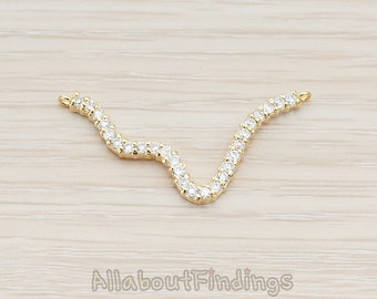 PDT719-G // Glossy Gold Plated Clear Crystal Cubic Zirconia Setting Wave Snake Pendant, 1 Pc