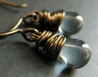 BRONZE Earrings - Blue Earrings. Dusk Blue Drop Earrings. Wire Wrapped Earrings. Handmade Jewelry.