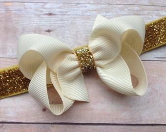 Ivory & gold baby headband - gold baby headband, gold headband, ivory bow headband, newborn headband, bow headband, Christmas headband