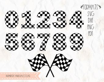 Checkered numbers, checkered flag, racing flag, SVG, PNG, DXF, Jpeg, cricut, silhouette studio, cut file, vinyl decal, t shirt design
