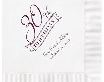 30th Birthday Party Napkins Personalized Set of 100 Napkins Thirtieth