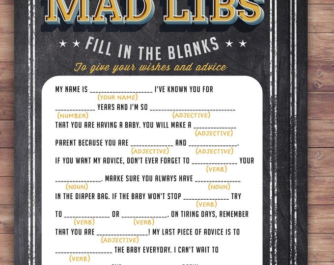 MAD LIBS baby shower game, Baby is brewing, Coed baby shower, baby wishes card- Beer baby shower- couples baby shower