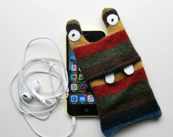 Multi Color Stripey Monster iPod or iPhone Cozy - Cell Mobile Phone Case - Felted Wool - Upcycled - Electronics - Fun - Tween - Teens