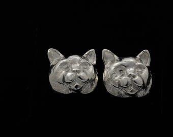 British Shorthair Cat sterling silver earrings