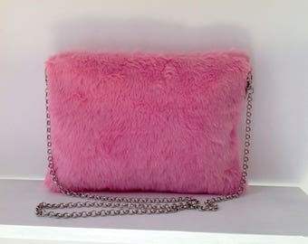 Pink furry  shoulder bag / Bag with chain /  FREE SHIPPING