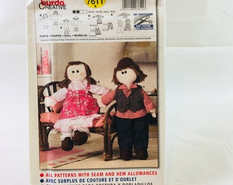 Burda Creative 7611 Sewing Pattern Boy and Girl Dolls / easy sewing pattern in 3 languages: English, French and Spanish / dollmaking / toys