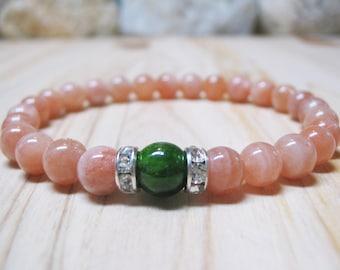 Diopside Bracelet Peach Moonstone Bracelet Calming Bracelet Healing Bracelet Love Jewelry Spiritual Bracelet Moonstone Jewelry Mala Bracelet