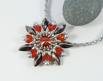 Orange Flower Pendant, Neon Necklace, Garden Lover Gift, Spring Gift, Colourful, Padparadscha, Swarovski, Exotic Jewelry, Bright Red Pendant