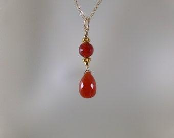 Carnelian briolette necklace  14k gold filled gemstone handmade  item 887