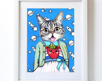 Lil' Bub -Matte Print - From Painting by Heather Mattoon