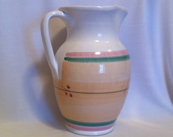 Vintage Italian Ceramic Pitcher - Peach Pink and Green