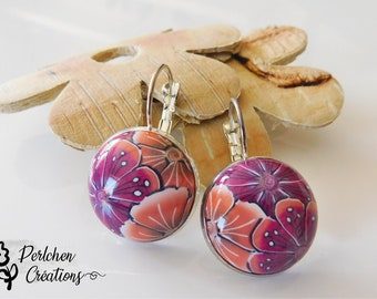 Round earrings with cabochon made of polymer clay, flowers Bordeaux and Orange