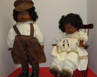 "Dolls by Pauline - 17"" tall cloth body with vinyl face and hands ~ Boy and Girl named George & Georgette AA  -Excellent condition-see photos"