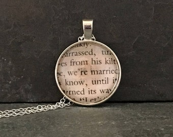 Book page pendant, Outlander, fantasy necklace, Outlander necklace, upcycled necklace, Diana Gabaldon, book necklace, book lover gift