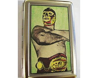 Lucha Libre metal wallet retro vintage Mexican wrestler cigarette case business card kitsch