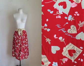 vintage novelty print skirt - HER FIRST LOVE rayon crepe skirt / M/L