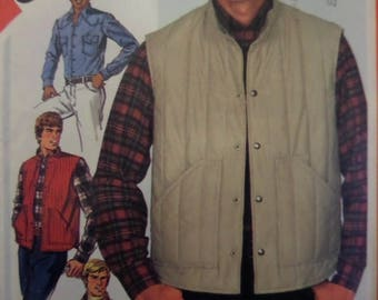 TRUCKER VEST Pattern • Simplicity 5350 • Mens 42 • Quilted Vest • Yoked Shirt • Snap Vest • Sewing Pattern • Mens Patterns • WhiletheCatNaps