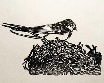 """Barn Swallow, hand carved Moku Hanga, woodblock print, 4""""x6"""""""