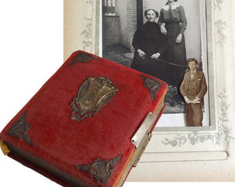 Antique Photo Album with Original Photos / French Vintage Collectible 1900s Photo Book