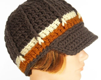 Newsboy Style Hat with Visor, Peanut Butter Truffle