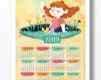 CALENDARIO 2019, calendario stampabile illustrato, calendario una pagina, stampa per cameretta, file digitale, calendario per bambini, 2019