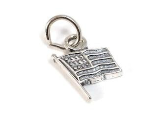 Sterling Silver American Flag Charm / Charm Bracelet / CHM027