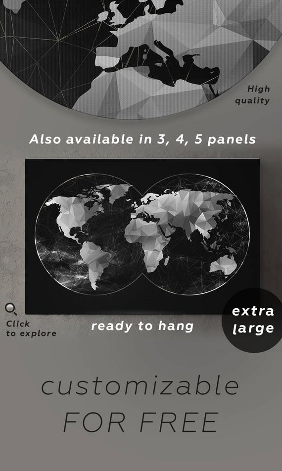 Abstract black white world map canvas double hemisphere map of like this item gumiabroncs Gallery