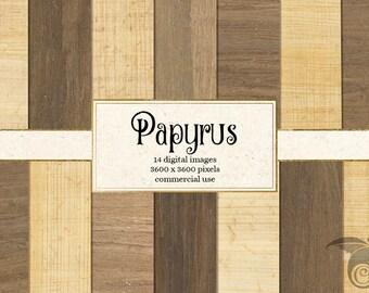 Papier numérique papyrus Textures, fonds imprimable papyrus égyptien, de texture défilement du papier ancien, de l'Egypte scrapbook numérique papier téléchargement