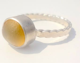 Rare, yellow beach glass nugget set in sterling silver