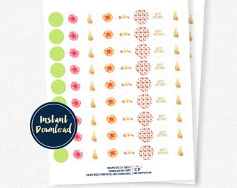 """Pineapple Party 3/4"""" Circles - Candy Labels, Kiss Stickers - Printable INSTANT DOWNLOAD"""