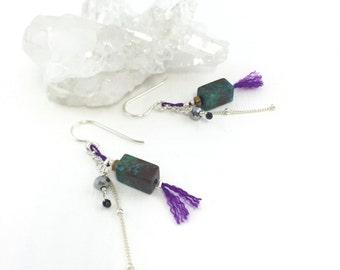 Turquoise Tassel Sterling Dangle Earrings, Turquoise Earrings Silver, December Birthstone, Dainty Silver Earrings, Multi Gem Earrings