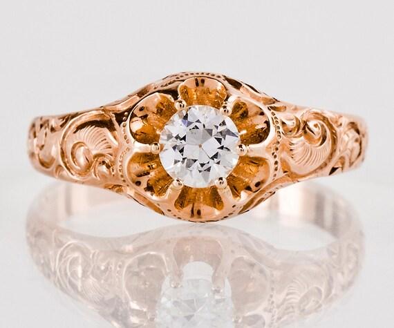 Antique Engagement Ring Antique 1930's 14k Rose Gold