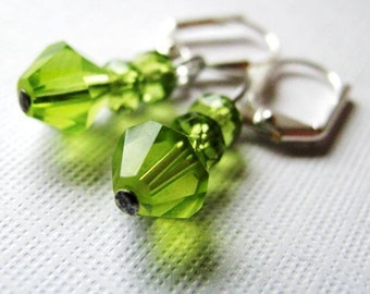 Spring Green - Moss Green Dangle Earrings in Crystal and Glass, Bridesmaid Gift - Custom Colors Available
