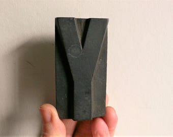 "Letterpress Wood Type Y - 3"" Tall 7.5 cm/ Antique Letterpress Wood Printer's Block HAND CARVED wabi sabi"