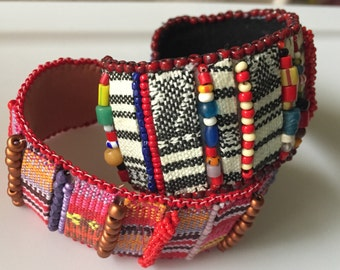 Closeout KIT and PATTERN Tutorial Bead Embroidery Hippie Girl Cuff Bracelet