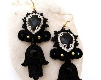black crystal long hamsa earrings , gold black dangle drop hand of Fatima earrings , statement elegant boho chic earrings , perfect gift