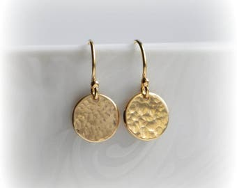 Hammered Gold Earrings, Gold Disc Earrings, Tiny Gold Earrings, Gold Minimalist Earrings, Dangle Earrings, Girlfriend Gift for Her,