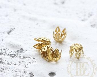 40 Pieces / Raw Brass / Brass Base / Flower / Bead Cap / Flower Cap / Cap (C3897)