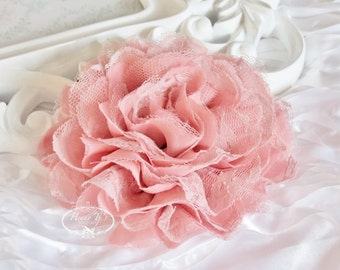 2 pcs Vintage PEACH / Salmon Pink - Large Shabby Chic Frayed Chiffon Mesh and Lace Rose Fabric Flower