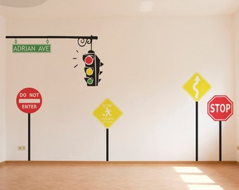 Traffic Monogram Set - Custom Wall Vinyl Decals - Includes Stop, Children at Play, Yield, Do Not Enter, Traffic Light, and Street Sign