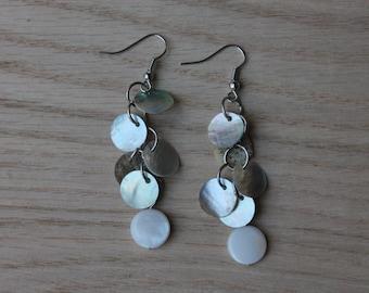White shell earrings, Shell Earrings, Dangle Earrings, Beach Jewelry