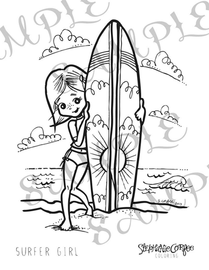 surfer girl coloring page instant digital download