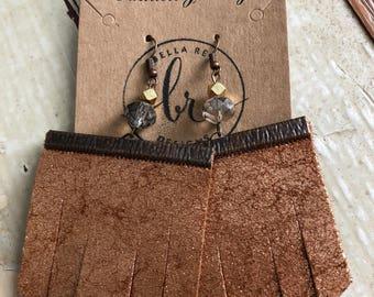 Rose gold fringe shimmer earrings